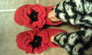 Ugly Hand-Knit Slippers with Crocheted Embellishment $100.15